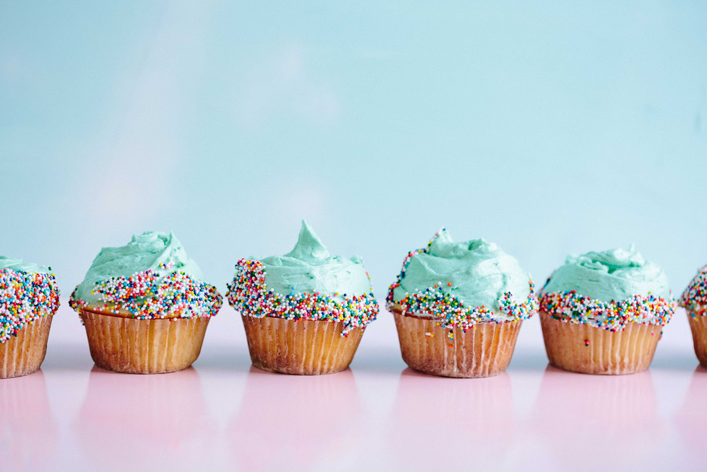 Line of Blue Cupcakes